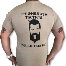 "THIGHBRUSH® TACTICAL - ARMED FORCES COLLECTION - ""Squeal Team Six"" - Men's T-Shirt - Khaki and Black - thighbrush"