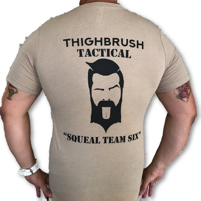 THIGHBRUSH TACTICAL - Squeal Team Six - Men's T-Shirt - Khaki and Black