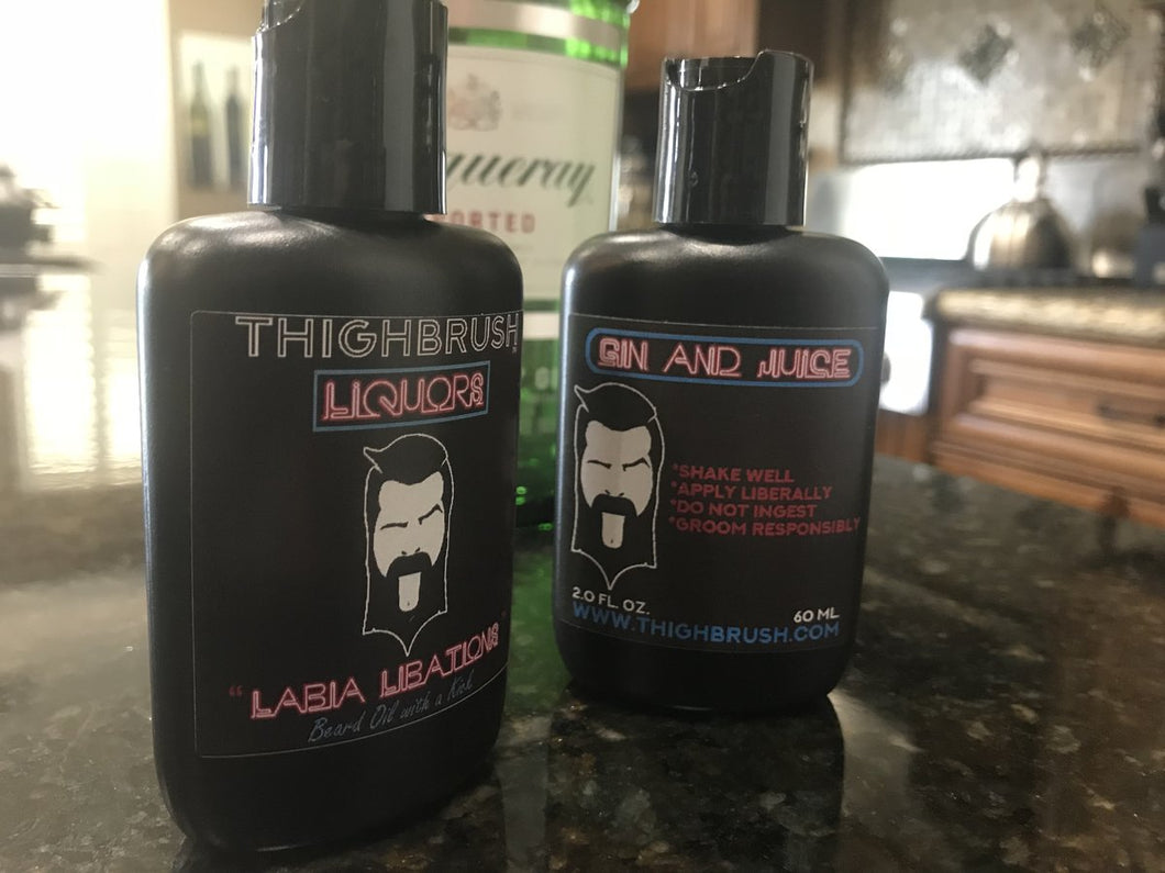 THIGHBRUSH LIQUORS - Labia Libations - Beard Oil with a Kick - 2 Ounce Bottle - Gin and Juice