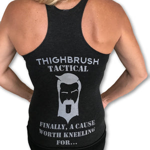 THIGHBRUSH TACTICAL - Finally, A Cause Worth Kneeling For - Women's Tank Top - Heathered Black and Silver