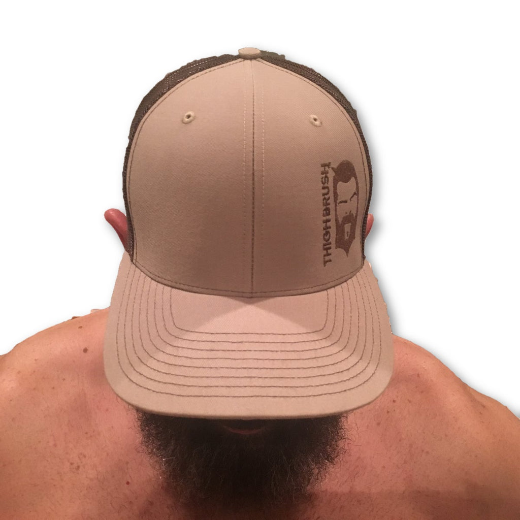 THIGHBRUSH® - Trucker Snapback Hat - Brown and Khaki - thighbrush