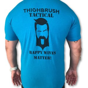 "THIGHBRUSH® TACTICAL - ""Happy Wives Matter"" - Men's T-Shirt - Turquoise and Black - thighbrush"