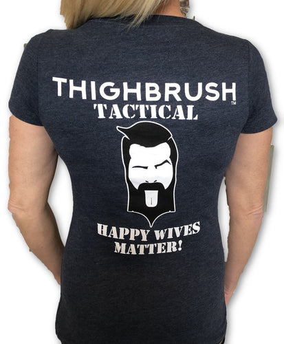 THIGHBRUSH TACTICAL - Happy Wives Matter - Women's T-Shirt - V-Neck - Heather Navy - 2-Tone Logo