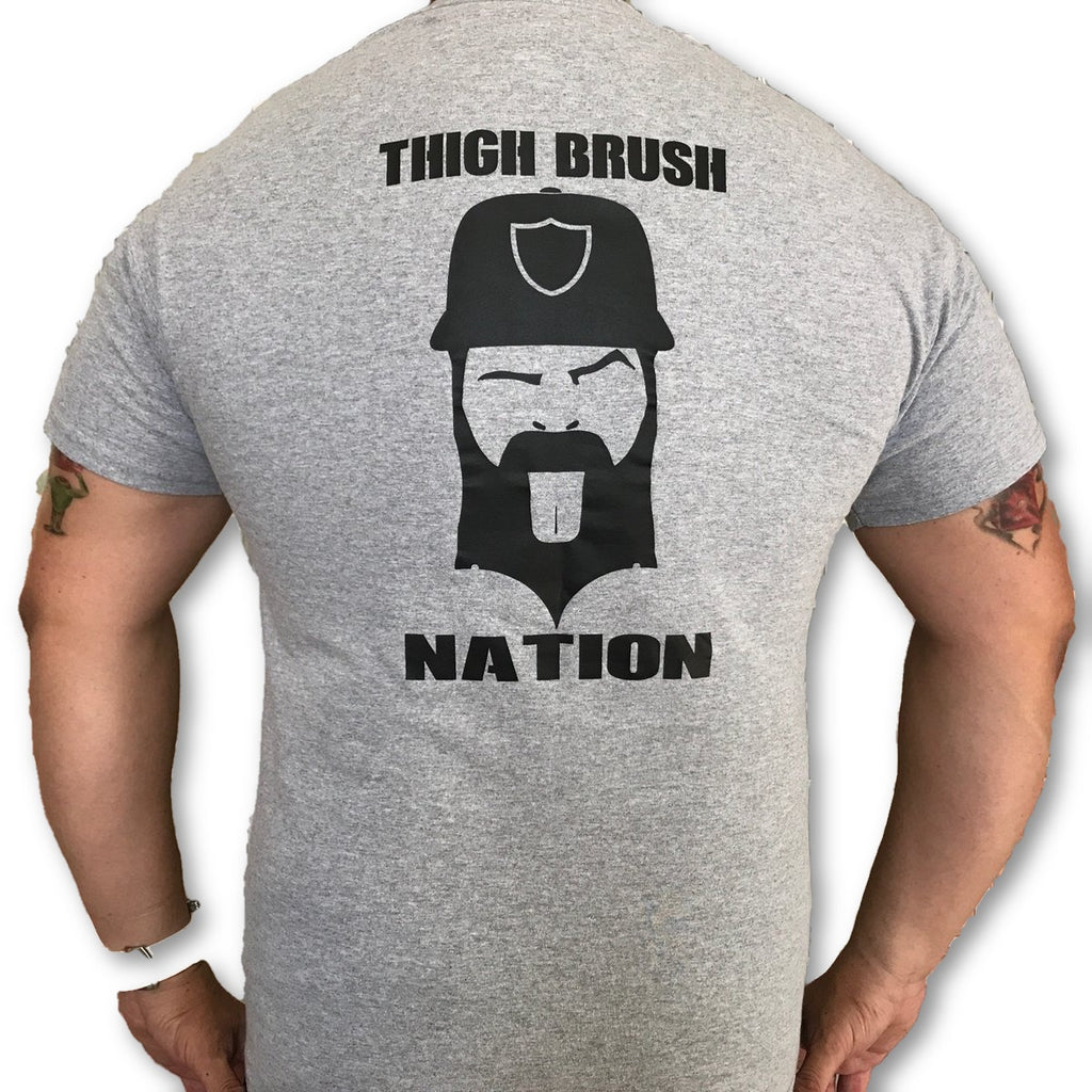 THIGHBRUSH® NATION - Men's T-Shirt - Heather Grey and Black - thighbrush