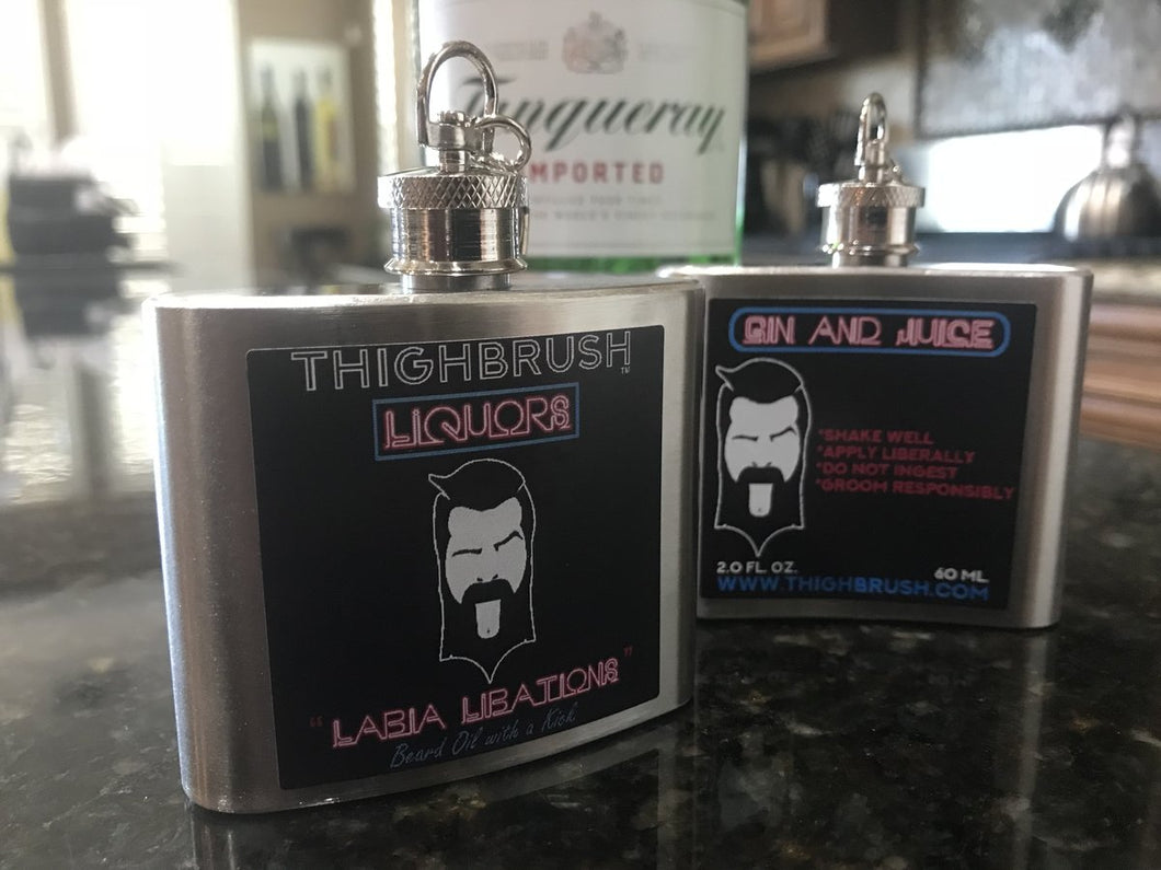 THIGHBRUSH LIQUORS - Labia Libations Beard Oil With a Kick - 2 Ounce Keychain Flask - Gin and Juice