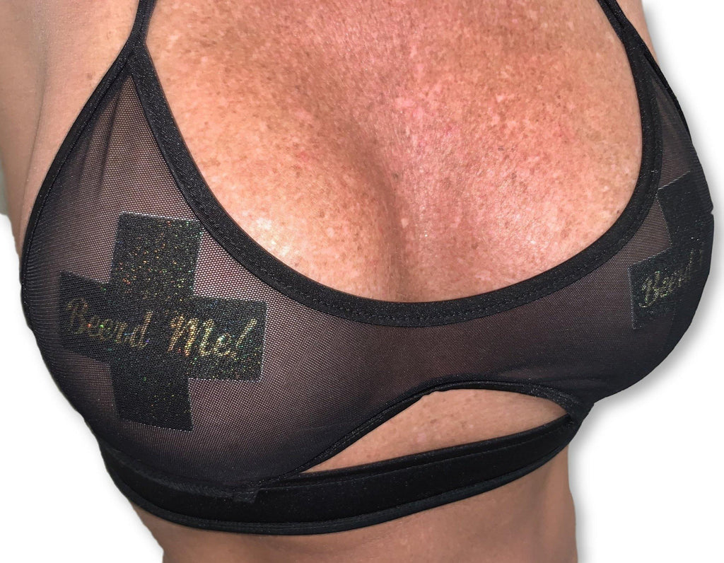 "Pastease® Premium Pasties - THIGHBRUSH® ""Beerd Me!""- Cross in Black Glitter"