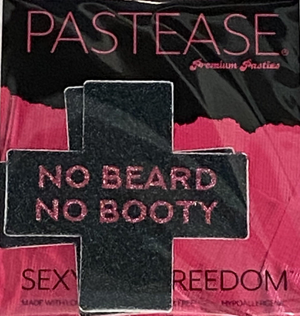 "Pastease® Premium Pasties - THIGHBRUSH® ""NO BEARD, NO BOOTY""- Cross in Black Glitter"