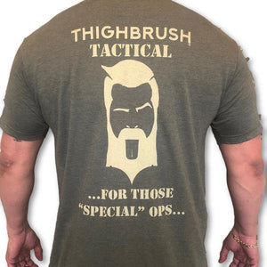 "THIGHBRUSH TACTICAL - For Those ""Special"" Ops - Men's T-Shirt - Heather Military Green and Tan"