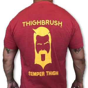 "THIGHBRUSH TACTICAL -  ARMED FORCES COLLECTION - ""SEMPER THIGH"" Men's T-Shirt - Scarlet and Gold"