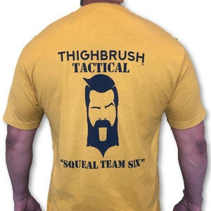 "THIGHBRUSH TACTICAL -  ARMED FORCES COLLECTION - ""Squeal Team Six"" Men's T-Shirt - Gold and Navy Blue - THIGHBRUSH®"