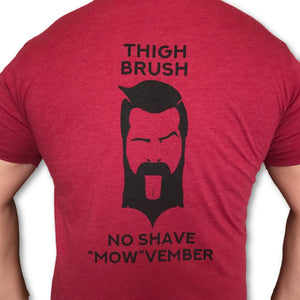 "LIMITED EDITION - THIGHBRUSH - No Shave ""MOW""vember - Men's T-Shirt - Cranberry and Black"