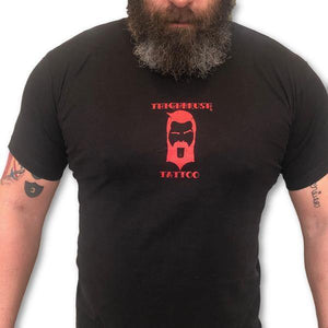 "THIGHBRUSH TATTOO - ""So Good It'll Make You Ink"" - Men's T-Shirt - Black and Red"