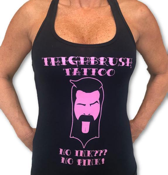 "THIGHBRUSH® TATTOO - ""No Ink, No Pink"" Women's Tank Top - Navy Blue and Pink - thighbrush"