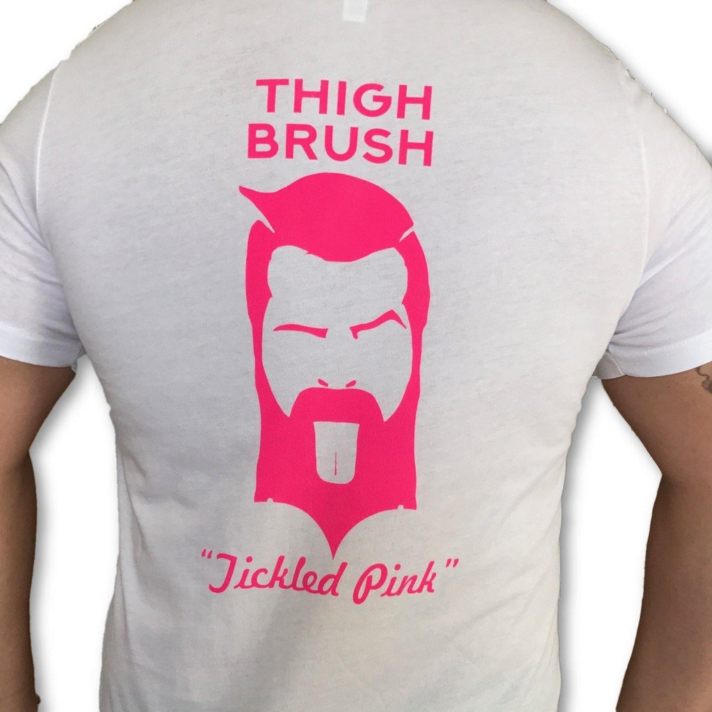 "THIGHBRUSH® - ""Tickled Pink"" - Men's T-Shirt - White and Pink - thighbrush"