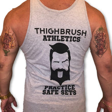 "THIGHBRUSH ATHLETICS ""Practice Safe Sets"" Men's Tank Top/Gym Tank. Grey with Black Logo/Print, Available in Sizes S-XXL. Tultex Pre-Shrunk Fabric - 90% Cotton and 10% Polyester.  https://thighbrush.com/products/thighbrush-athletics-mens-gym-tank-practice-safe-sets-grey-and-black"