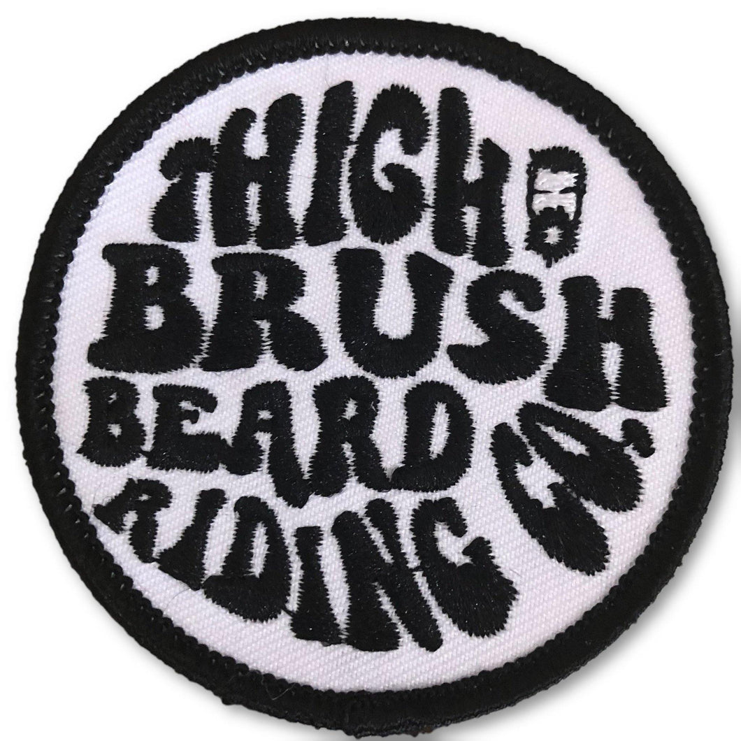 THIGHBRUSH BEARD RIDING COMPANY - Logo Patch - Black and White (Sew-on) - THIGHBRUSH®
