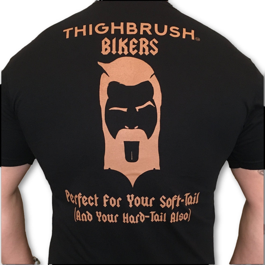 THIGHBRUSH BIKERS - Perfect for Your Soft-Tail (And Your Hard-Tail Also) - Men's T-Shirt - Black and Bronze