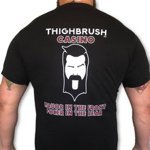 LIMITED EDITION - THIGHBRUSH CASINO - Liquor in the Front, Poker in the Rear - Men's T-Shirt - Black with Red and White