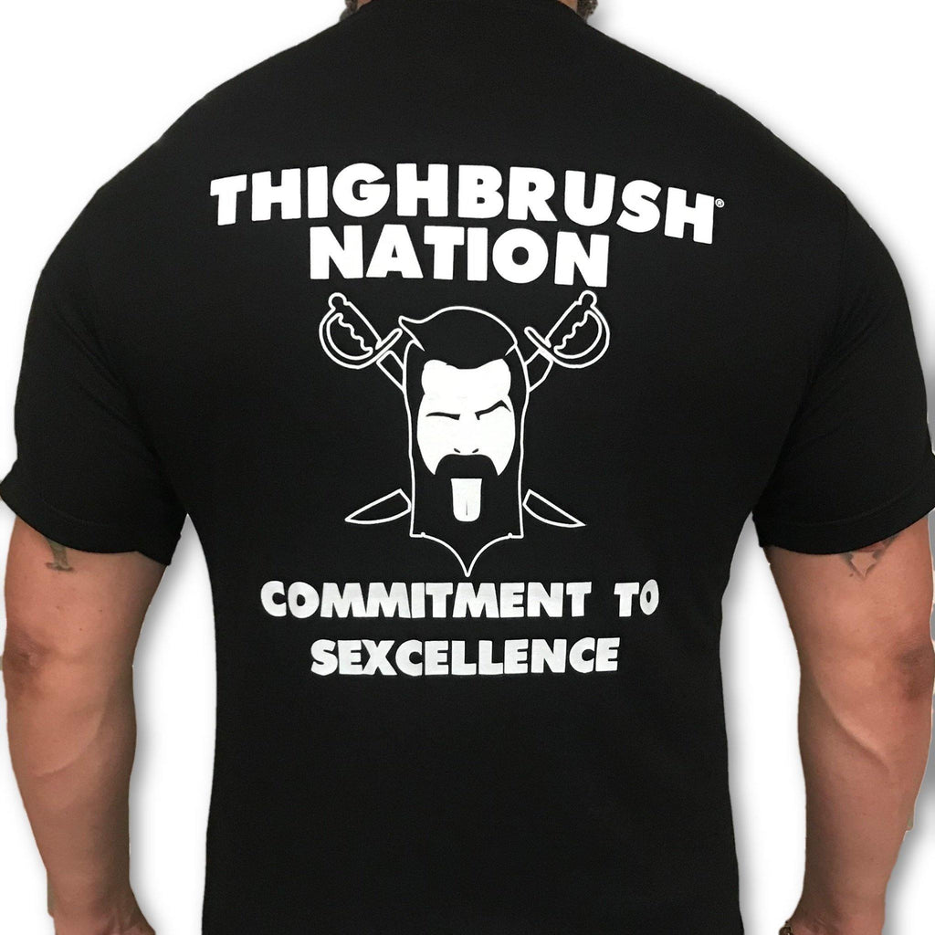 "THIGHBRUSH® NATION - ""Commitment to Sexcellence"" - Men's T-Shirt - Black and White - thighbrush"
