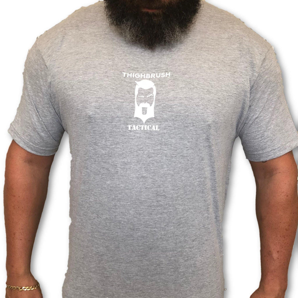 "THIGHBRUSH® TACTICAL - ARMED FORCES COLLECTION - ""Aim High-Lick Low"" Men's T-Shirt -  Heather Grey and White - thighbrush"
