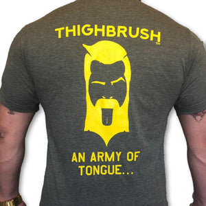 "THIGHBRUSH TACTICAL -  ARMED FORCES COLLECTION - ""An Army of Tongue"" Men's T-Shirt - Military Green and Gold - THIGHBRUSH®"