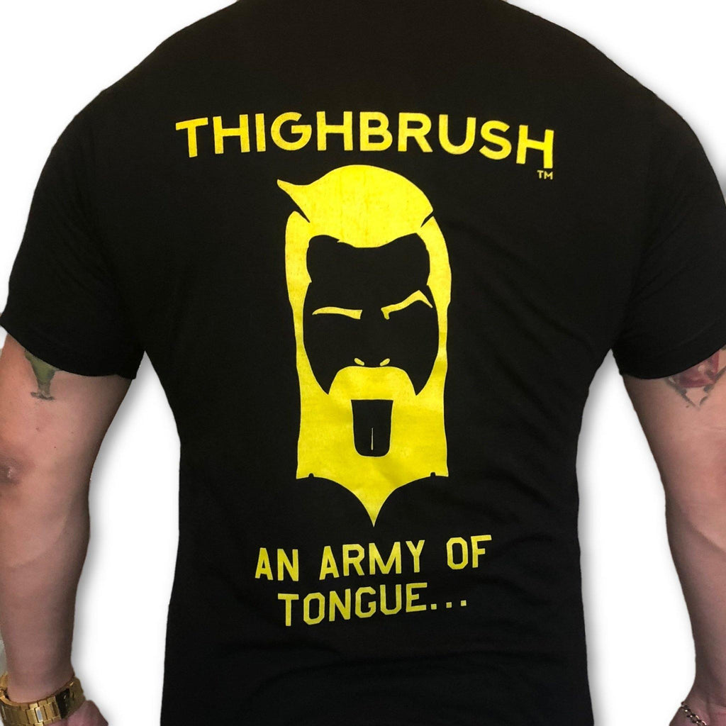 "THIGHBRUSH® TACTICAL - ARMED FORCES COLLECTION - ""An Army of Tongue"" Men's T-Shirt - Black and Gold - thighbrush"