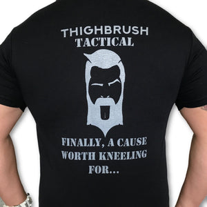 THIGHBRUSH TACTICAL - Finally, A Cause Worth Kneeling For - Men's T-Shirt - Black and Silver