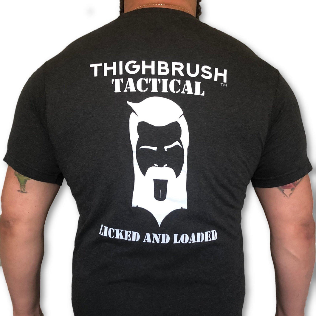 THIGHBRUSH TACTICAL - Licked and Loaded - Men's T-Shirt - Heather Black and White