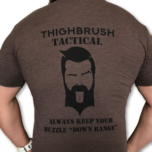 THIGHBRUSH TACTICAL - Always Keep Your Muzzle Down Range - Men's T-Shirt - Brown and Black - THIGHBRUSH®