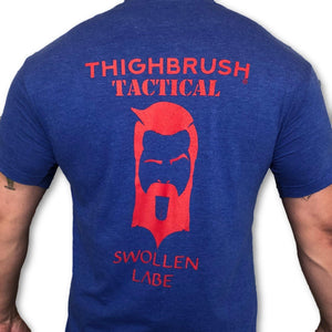 THIGHBRUSH TACTICAL - Swollen Labe - Men's T-Shirt -  Blue and Red