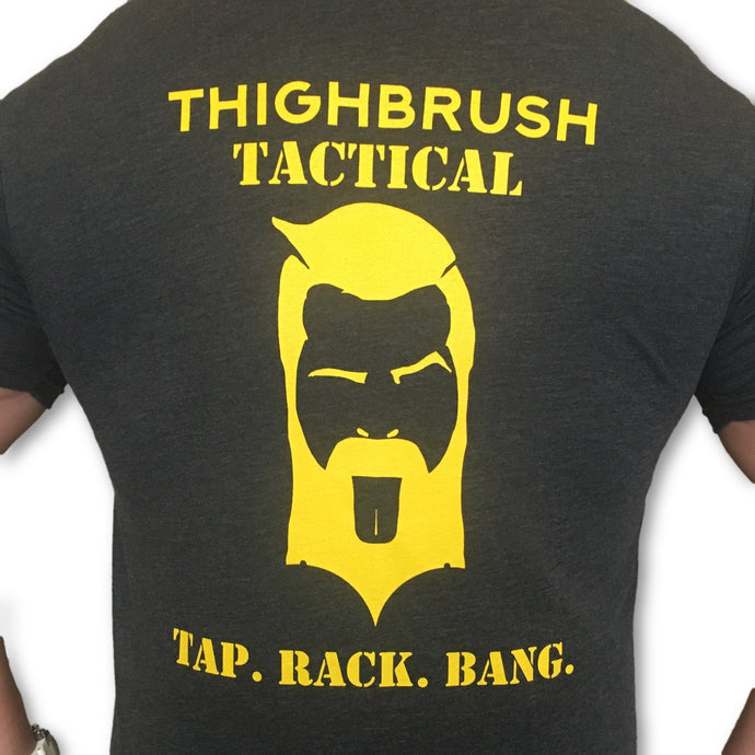 THIGHBRUSH TACTICAL - Tap. Rack. Bang. -Men's T-Shirt - Heathered Black and Yellow