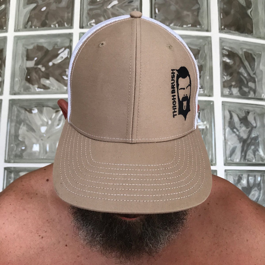 THIGHBRUSH® - Trucker Snapback Hat - Khaki and White