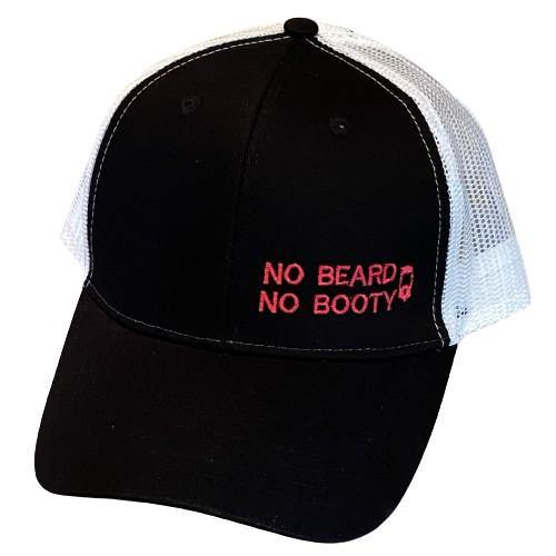 "THIGHBRUSH® ""NO BEARD, NO BOOTY"" - Trucker Snapback Hat  - Black and White with Pink"