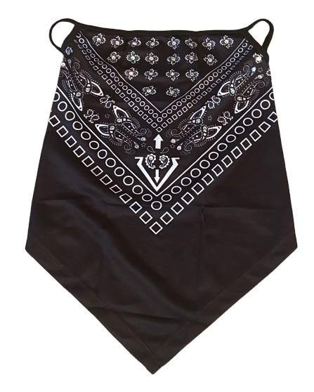 "THIGHBRUSH® - ""Bling"" Gaiter Style Face Mask with Ear Loops - Black and White"