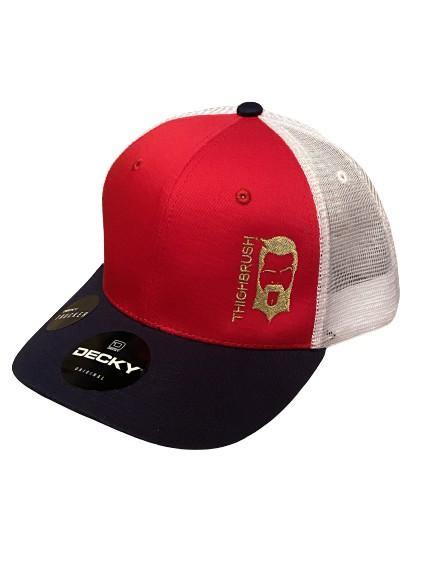 "THIGHBRUSH® - ""LIMITED EDITION"" - Trucker Snapback Hat - Red, White and Navy"