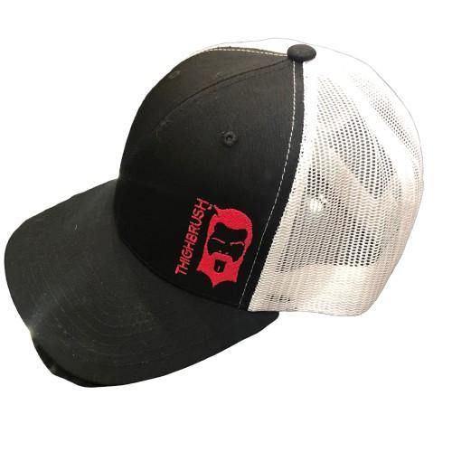 THIGHBRUSH® Trucker Snapback Hat in Black and White with Hot Pink THIGHBRUSH Logo. - 1