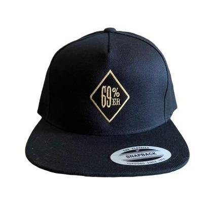"THIGHBRUSH® ""69% ER DIAMOND COLLECTION"" - WOOL BLEND SNAPBACK HAT - BLACK WITH GOLD - FLAT BILL"