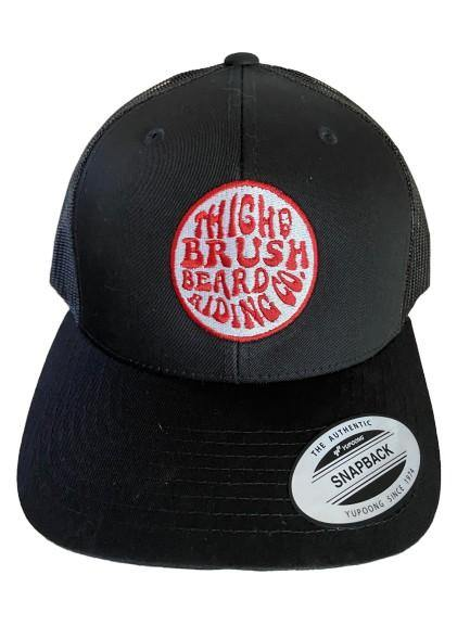 THIGHBRUSH® BEARD RIDING COMPANY - Trucker Snapback Hat - Black - Red Logo