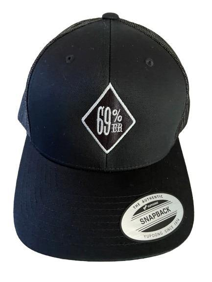 "THIGHBRUSH® ""69% ER DIAMOND COLLECTION"" - Trucker Snapback Hat - Black with Silver"