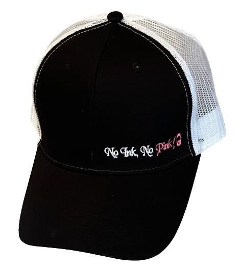 "THIGHBRUSH® ""No Ink, No Pink!"" - Trucker Snapback Hat  - Black and White with Pink"