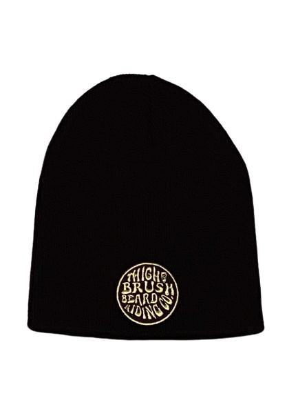 THIGHBRUSH® BEARD RIDING COMPANY Beanies - Patch on Front - Black with Gold - THIGHBRUSH®