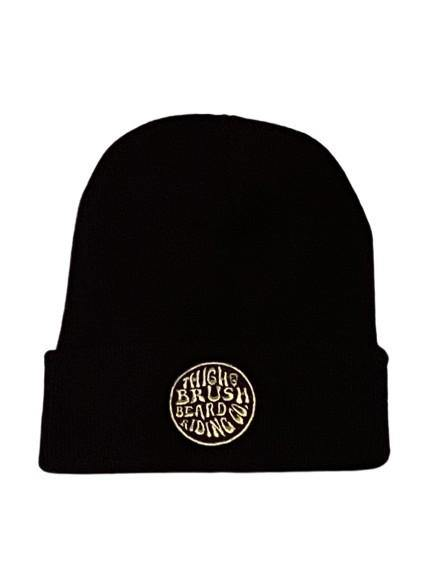 THIGHBRUSH® BEARD RIDING COMPANY - Cuffed Beanies - Black with Gold