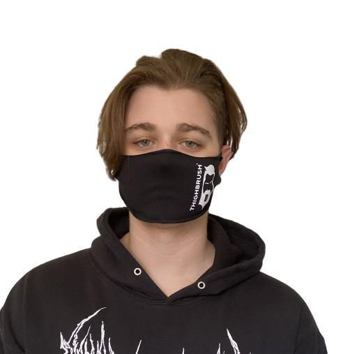 THIGHBRUSH® - Logo Face Mask  - Black - T-Shirt Fabric