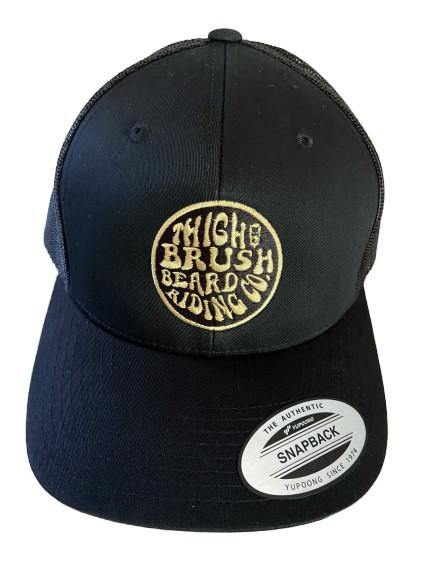THIGHBRUSH® BEARD RIDING COMPANY - Wool Blend Snapback Hat - Black with Gold - Flat Bill