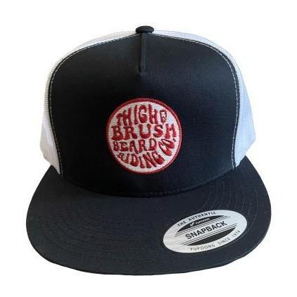 THIGHBRUSH® BEARD RIDING COMPANY - Trucker Snapback Hat - Black and White - Flat Bill - Red Logo - THIGHBRUSH®