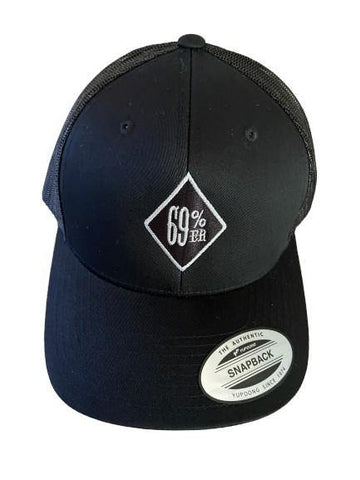 """THIGHBRUSH® """"69% ER DIAMOND COLLECTION"""" - Trucker Snapback Hat - Black with Silver"""