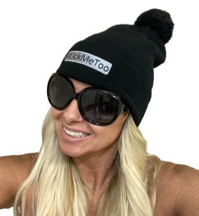 "THIGHBRUSH® ""#LickMeToo"" Pom Cuffed Beanies - Black with Silver"