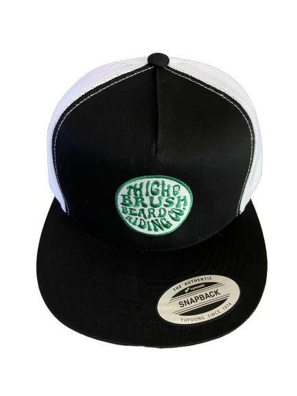 THIGHBRUSH® BEARD RIDING COMPANY - Trucker Snapback Hat - Black and White - Flat Bill - Green Logo