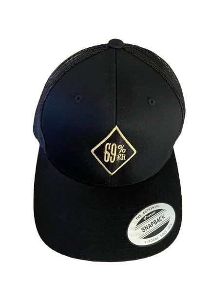 "THIGHBRUSH® ""69% ER DIAMOND COLLECTION"" - Trucker Snapback Hat - Black with Gold"
