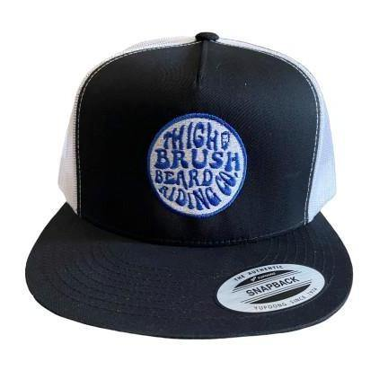 THIGHBRUSH® BEARD RIDING COMPANY - Trucker Snapback Hat - Black and White - Flat Bill - Blue Logo